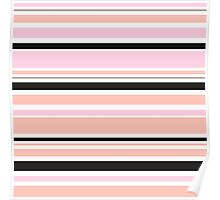 """Retro """"stripes"""" collection: peach, pink and black Poster"""