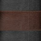 Vintage Black And Brown Stitched Leather Print by artonwear