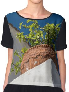 Contemplating Mediterranean Vacations - Red Tile Roofs and Terracotta Flowerpots Chiffon Top