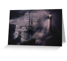 Pirate Ship, Lighthouse and Dark Skies Greeting Card