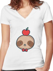 Bow Tie Sloth Face Women's Fitted V-Neck T-Shirt