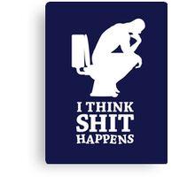 Think shit happens - The Thinker V.3 (white) Canvas Print