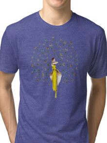 Paris Autumn Flower Girl  Tri-blend T-Shirt