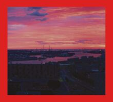 Sunset on River Nieuwe Maas, Rotterdam, (from Euromast) One Piece - Short Sleeve