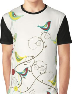 Colorful Whimsical Summer Birds And Swirls Graphic T-Shirt