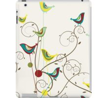 Colorful Whimsical Summer Birds And Swirls iPad Case/Skin