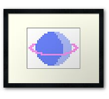 Blue and Pink Pixel Planet Framed Print