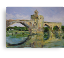 June Morning by Pont D'Avignon Canvas Print