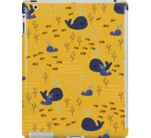 Playful Whales Drawing - Seamless Pattern iPad Case/Skin