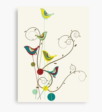 Colorful Whimsical Summer Birds And Swirls Canvas Print