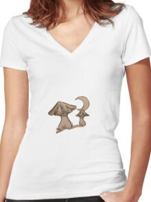 Mushrooms small moon Women's Fitted V-Neck T-Shirt