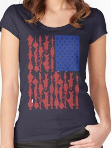 American flag fishing shirt Women's Fitted Scoop T-Shirt