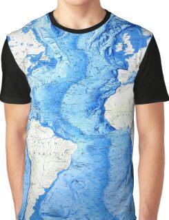 Atlantic ocean africa south america map Graphic T-Shirt