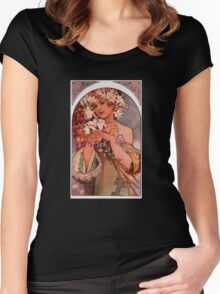'Flowers' by Alphonse Mucha (Reproduction) Women's Fitted Scoop T-Shirt