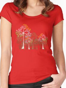 Colorful Four Seasons Trees Women's Fitted Scoop T-Shirt