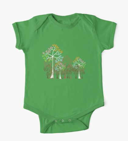 Colorful Four Seasons Trees One Piece - Short Sleeve