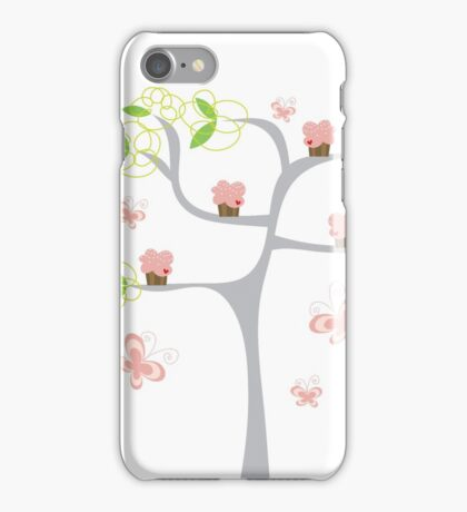 Whimsical Pink Cupcakes Tree iPhone Case/Skin