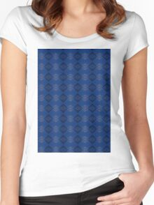 Blue & Black Women's Fitted Scoop T-Shirt
