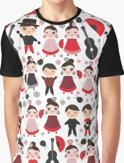 Flamenco boys and girls with guitar, castanets and fans Graphic T-Shirt