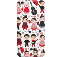 Flamenco boys and girls with guitar, castanets and fans iPhone Case/Skin
