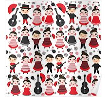 Flamenco boys and girls with guitar, castanets and fans Poster