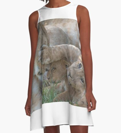 Don't look Mom- Lion cubs A-Line Dress