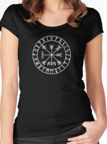 Vegvísir PATH GUIDE and Elder Futhark RUNES Women's Fitted Scoop T-Shirt