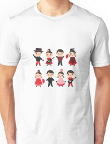 Flamenco boys and girls with guitar, castanets and fans Unisex T-Shirt