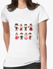 Flamenco boys and girls with guitar, castanets and fans Womens Fitted T-Shirt