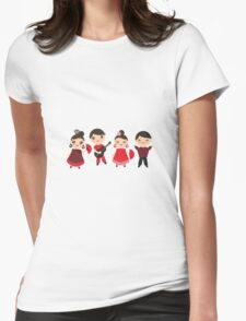 Happy flamencos on blue Womens Fitted T-Shirt