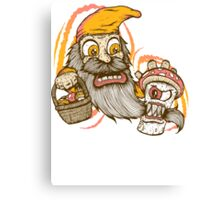 Gnome being attacked by killer shroom! Canvas Print