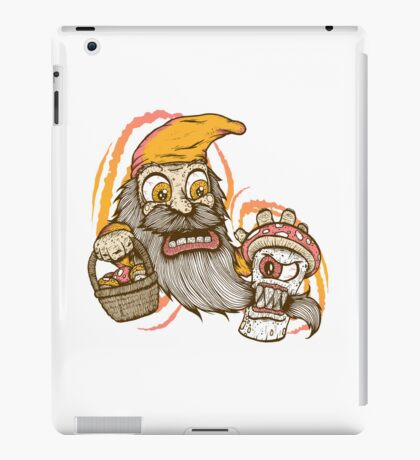Gnome being attacked by killer shroom! iPad Case/Skin
