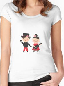 Flamenco boy and girl Women's Fitted Scoop T-Shirt