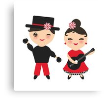 Flamenco boy and girl Canvas Print