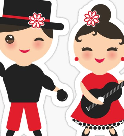 Flamenco boy and girl Sticker