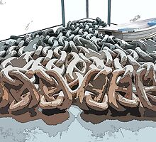 Anchor Chains With Dinghy by Judi FitzPatrick