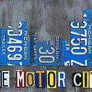 Detroit The Motor City Skyline License Plate Art by designturnpike