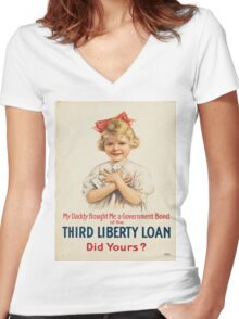 Vintage poster - Third Liberty Loan Women's Fitted V-Neck T-Shirt