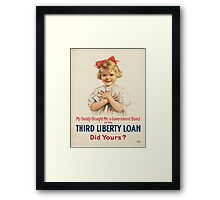 Vintage poster - Third Liberty Loan Framed Print