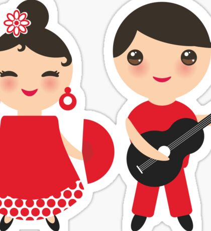 Flamenco boy and girl 3 Sticker