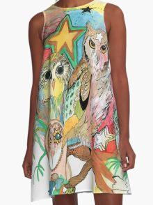 Owls and Stars A-Line Dress