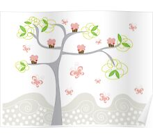 Whimsical Pink Cupcakes Tree Poster