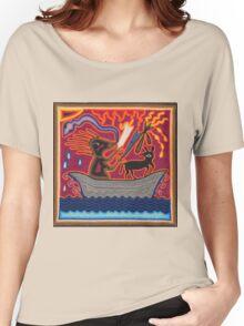 Mexican Folk Art - Boat, dog, snake Women's Relaxed Fit T-Shirt