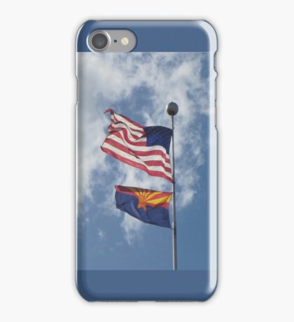 American and Arizona flags blowing in a beautiful breeze iPhone Case/Skin