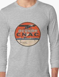Vintage CNAC Luggage Label Long Sleeve T-Shirt