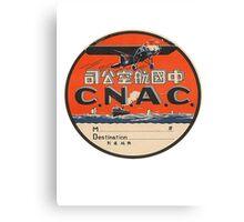 Vintage CNAC Luggage Label Canvas Print