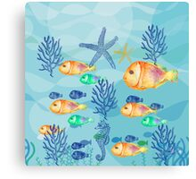 Me and My Big Family, #redbubble, #nautical, #ocean, #abstract, #pattern Canvas Print