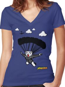 Skydiving Ferret  Women's Fitted V-Neck T-Shirt