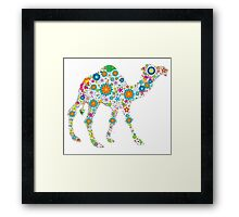 Cute Colorful Retro Floral Camel Framed Print