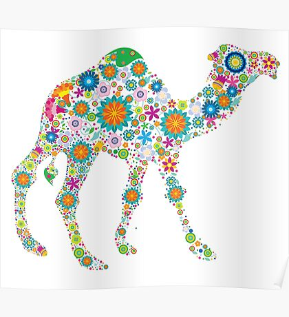 Cute Colorful Retro Floral Camel Poster